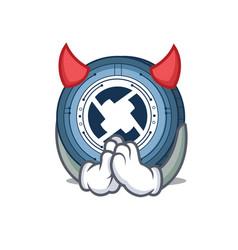 Devil 0x coin mascot cartoon vector