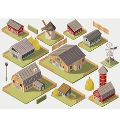 Farms isometric set vector