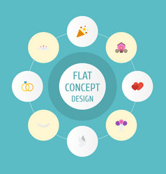 Flat icons chariot pigeon engagement and other vector