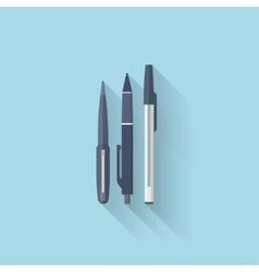 Flat web internet icon Pen set vector image