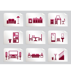 furniture stickers vector image