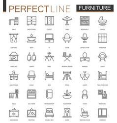 Furniture thin line web icons set outline stroke vector