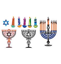 hanukkah background with menorah and david vector image vector image