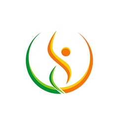 happy people sport yoga beauty logo vector image vector image