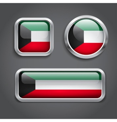 Kuwait flag glass buttons vector image
