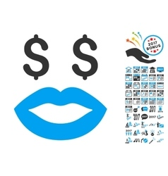Prostitution smiley icon with 2017 year bonus vector