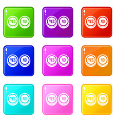 Round signs yes and no icons 9 set vector