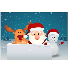santa claus with reindeer and snowman in winter la vector image