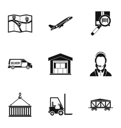 Shipping icons set simple style vector