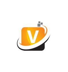 Technology motion synergy letter v vector