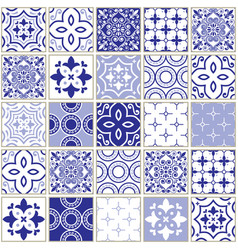 veector navy blue tiles pattern azulejo design vector image