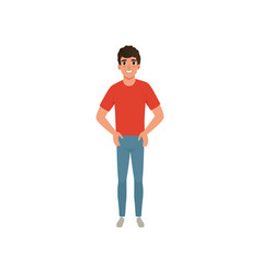 young caucasian man dressed in red t-shirt and vector image vector image