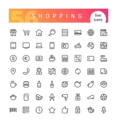 Shopping line icons set vector