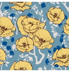 seamless pattern Retro flowers and leaves vector image