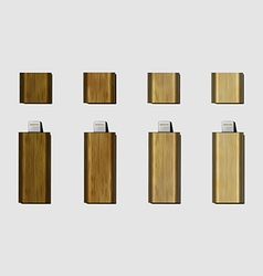 Wood micro usb flash drive for phone vector