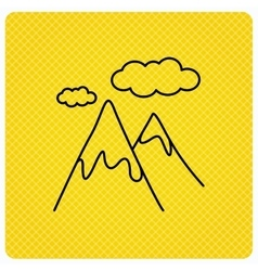 Mountain icon hills and clouds sign vector