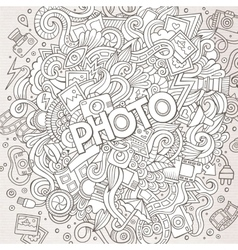 Cartoon cute doodles hand drawn photo vector