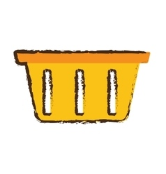Yellow basket shopping online store sketch vector