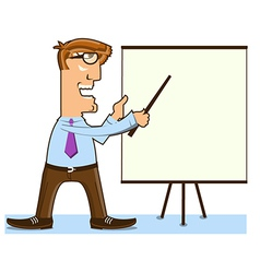 Office man and pointer near presentation board vector