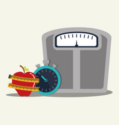 Weight scale chronometer fruit lose vector
