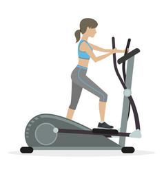 Fitness girl on the elliptical trainer vector