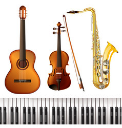 Realistic musical instruments collection vector