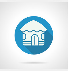 Tropical hut flat round icon vector