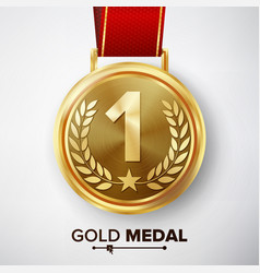 Gold medal  metal realistic first placement vector