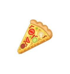 Pizza slice flat isolated vector