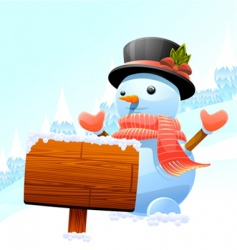 Snowman and wooden sign vector
