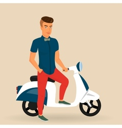 Hipster guy wearing stylish rides his motorbike vector