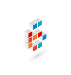 3d cube number 6 logo icon design template vector