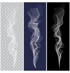 Set of realistic white smoke vector