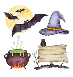 Watercolor set of elements for halloween party vector