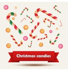 Set of Christmas candy stickers on the white vector image