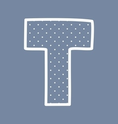 T alphabet letter with white polka dots on blue vector