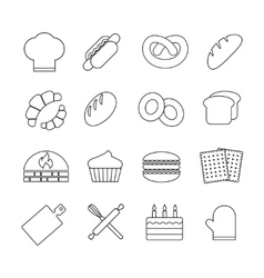 Bread and bakery outline linear icons set vector