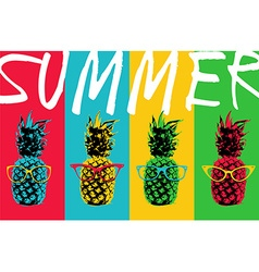 Summer pineapple color design with hipster glasses vector image
