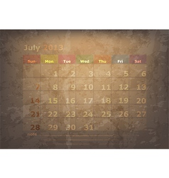 antique calendar of July vector image
