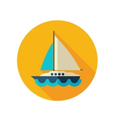 Boat with a sail flat icon summer vacation vector