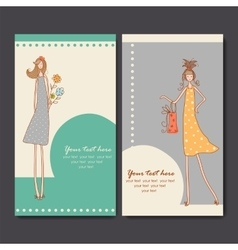 business cards with fashion girls vector image
