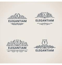 Calligraphic flourishes luxury monogram set line vector
