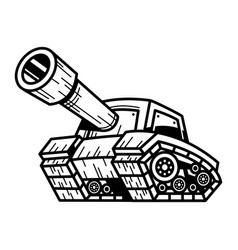 Cartoon army tank machine with big cannon ready vector