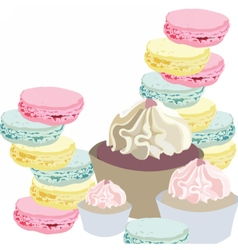Cupcakes and Macaroons vector image vector image