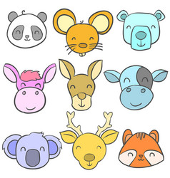 doodle of animal cute style collection vector image