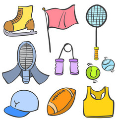 Doodle sport object equipment collection vector