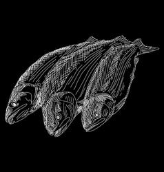 Drawing hand fish vector