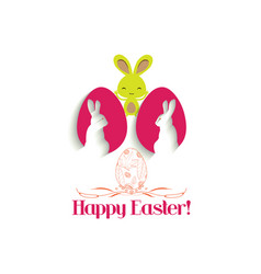 Easter greeting card with easter rabbit and egg vector