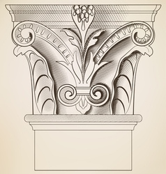 engraving column vector image