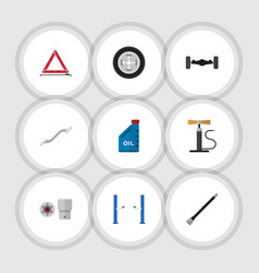 Flat icon service set of tire wheel pump vector